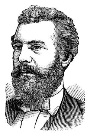 Alexander Graham Bell, 1847-1942, fue científico, ingeniero e inventor del teléfono, y fundador de Bell Canada, grabado o dibujo de línea vintage de la ilustración