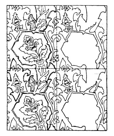 Gold Pattern found on the floor of the altar shrine, it is in the church of St. Egidius, vintage line drawing or engraving illustration.