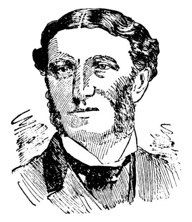 Matthew Arnold, 1822-1888, he was an English poet and cultural critic, vintage line drawing or engraving illustration