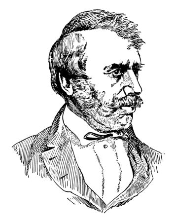 David Livingstone, 1813-1873, he was a Scottish Christian Congregationalist and pioneer medical missionary, vintage line drawing or engraving illustration Vectores