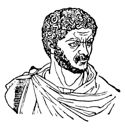 Caracalla, 188-217, he was Roman emperor from 198 to 217, and a member of the Severan dynasty, vintage line drawing or engraving illustration Illusztráció
