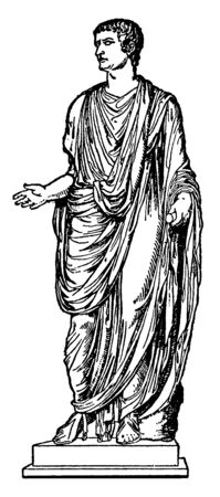 Emperor Tiberius Wearing a Toga, he was a Roman emperor, vintage line drawing or engraving illustration
