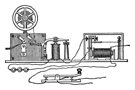 This illustration represents function of Morse Apparatus Circuit and Battery, vintage line drawing or engraving illustration.