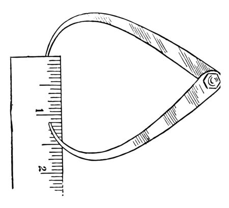 Reading the Outside Caliper are adjusted to fit across the points, tips with a measuring tool such as a ruler, vintage line drawing or engraving illustration.