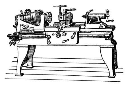 This illustration represents function of Large Power Lathe, vintage line drawing or engraving illustration. Illustration