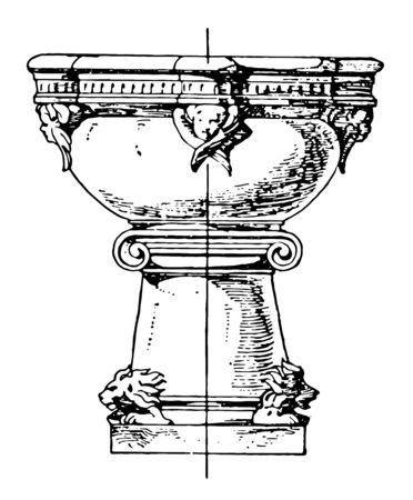 This Romanesque stoup is a small basin which contains holy water, vintage line drawing or engraving illustration. Çizim
