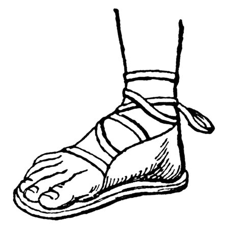 Greek Sandal is a protection for the foot, vintage line drawing or engraving illustration.