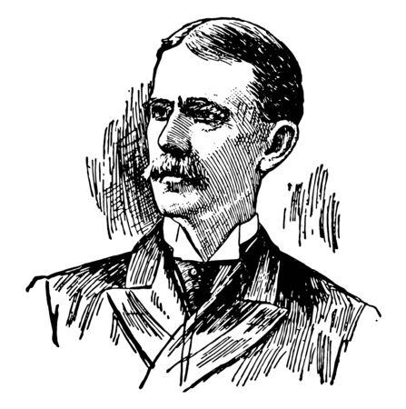 Henry Van Dyke, he was an American poet, essayist and educator, vintage line drawing or engraving illustration Ilustração