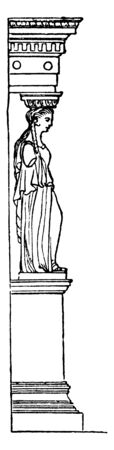 Profile of the Caryatis with Pedestal and Entablature, are not of frequent occurrence, blending of sculpture, Caryatides are human figures, vintage line drawing or engraving illustration.