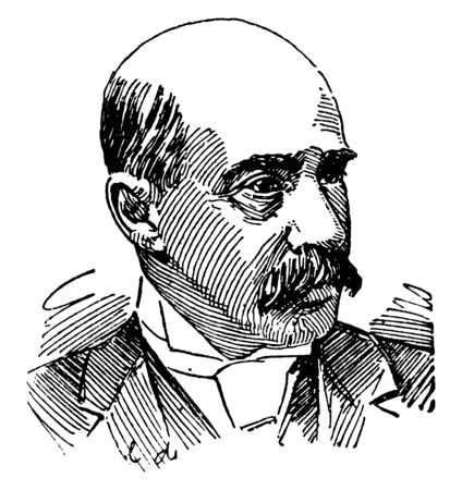 Paul B. Chaillu, he was a French-American traveller, zoologist, and anthropologist, famous as first modern European outsider to confirm the existence of gorillas, and Pygmy people of central Africa, vintage line drawing or engraving illustration