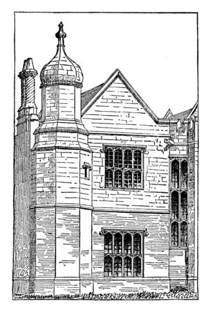 Elizabethan Architecture, Hargrave Hall in England,  the Plateresque style in Spain, new royal palaces, vintage line drawing or engraving illustration. Ilustração
