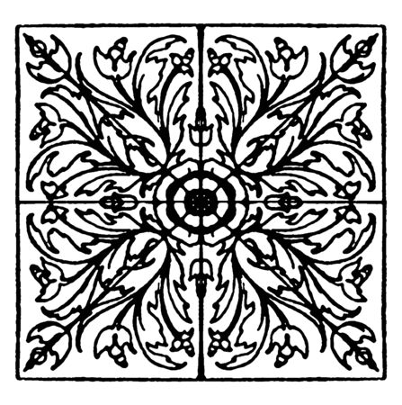 Renaissance Square Panel is found on the door of the Madonna di Galleria in Bologna, vintage line drawing or engraving illustration.