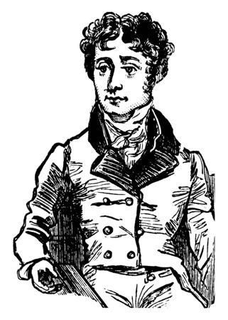 Thomas Campbell, 1777-1844, he was a Scottish poet, famous for his sentimental poetry dealing especially with human affairs, founder and the first president of the Clarence club, vintage line drawing or engraving illustration Foto de archivo - 133022867