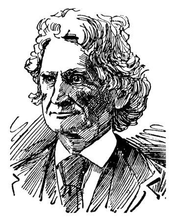 James D. Dana, 1813-1895, er war ein amerikanischer Geologe, Mineraloge, Vulkanologe und Zoologe, Vintage-Linien-Zeichnung oder Gravierillustration Vektorgrafik