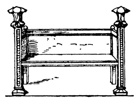 Middle Age bench with armrest and back rest at the same level, seating is high above the ground, vintage line drawing or engraving illustration