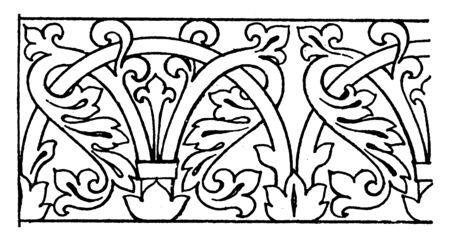 Mosaic Ornament Link Border è stato progettato durante il periodo bizantino a San Marco, disegno di linee vintage o illustrazione di incisione.