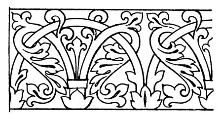 Mosaic Ornament Link Border was designed during the Byzantine time in San Marco, vintage line drawing or engraving illustration.