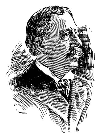 David Starr Jordan, 1851-1931, he was an American ichthyologist, educator, eugenicist, and peace activist, vintage line drawing or engraving illustration