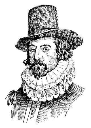 Lord Francis Bacon, 1561-1626, il était un philosophe, auteur, homme d'État et scientifique anglais, célèbre pour sa promotion de la méthode scientifique, du dessin au trait vintage ou de l'illustration de gravure Vecteurs