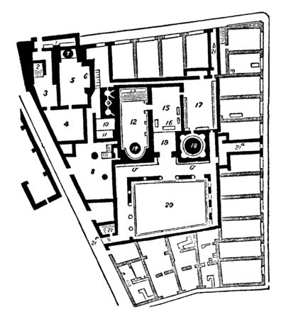 Baths of Pompeii, The ground plan of the baths, town-city near modern Naples,  an amphitheatre, gymnasium, and a port, vintage line drawing or engraving illustration.
