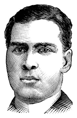 Jack Burke, 1869-1942, he was a boxer who fought in the longest gloved ring battle on record in the late nineteenth century, vintage line drawing or engraving illustration