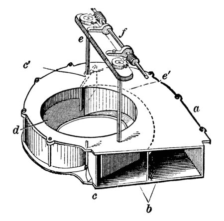 This illustration represents Hydraulic Scroll which is disclosed having a fixed scroll, vintage line drawing or engraving illustration. Иллюстрация