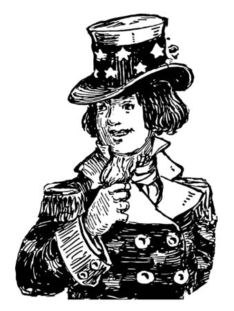 Image shows the picture of Uncle Sam. He has been a popular symbol of the US government in American culture and a manifestation of patriotic emotion, vintage line drawing or engraving illustration.