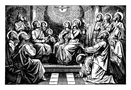 This picture shows a bright pigeon descends from the center of the room amidst the disciples and apostles gathered in that room. All disciples & Mary have halos behind their heads, vintage line drawing or engraving illustration.
