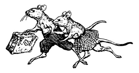 Two mice dressed up and running, and holding bag, vintage line drawing or engraving illustration Stock Illustratie
