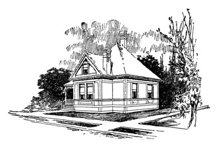 The American, small, one bedroom bungalow, hipped roof with a gabled window, Maximize Function and Style, one-story gabled houses with front or rear porches, vintage line drawing or engraving illustration.