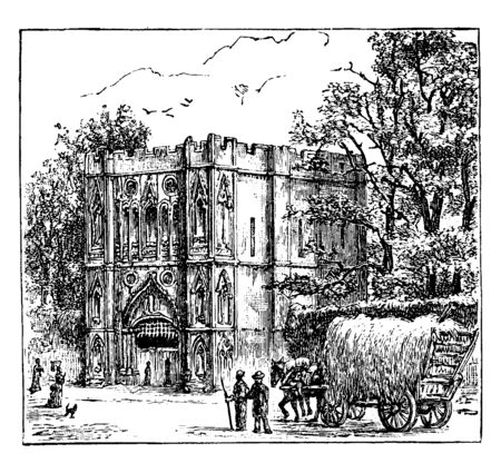 Abbey Gate, Bury St. Edmunds, town anglo saxon, east angles monastery, king edmund, viking danish invasion, vintage line drawing or engraving illustration
