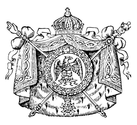 Coat of Arms, France, this seal has eagle with wide wings in the center of circle, it has mantle around circle and two crossed scepters behind the shield, and crown on top of shield, vintage line drawing or engraving illustration