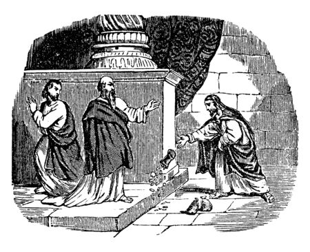 This picture shows the money being offered to Peter by Simon, the sorcerer. The money bag & coins are seems to be fallen on the ground while Peter has his hand raised. Another apostle is walking away, vintage line drawing or engraving illustration.