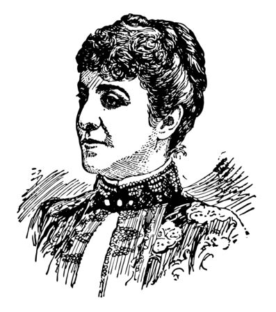 Adelina Patti, 1843-1919, she was an Italian-French nineteenth century opera singer, vintage line drawing or engraving illustration