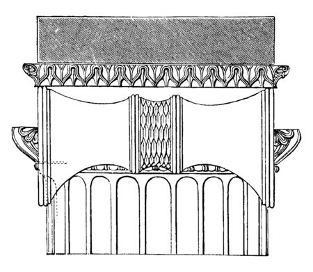 Side View of the Ionic Capital from the Temple of Minerva Polias at Priene, appear to meet in the middle, form a wavy line over the echinus, the spiral coils, vintage line drawing or engraving illustration.