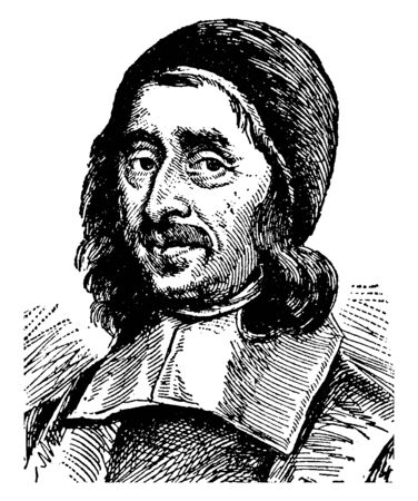 Richard Baxter, 1615-1691, he was an English puritan church leader, poet,  theologian, and writer, vintage line drawing or engraving illustration Foto de archivo - 133023720