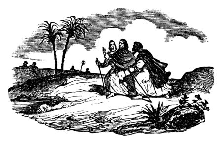Jesus walking with two disciples. Two of the men hold walking sticks. There are two palm trees along the road, vintage line drawing or engraving illustration.