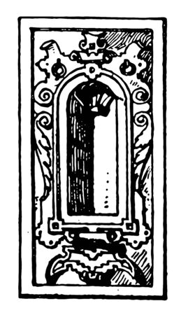 German Renaissance Architectural Frame had a small niche in the middle, it is curved out hole as a design, vintage line drawing or engraving illustration.