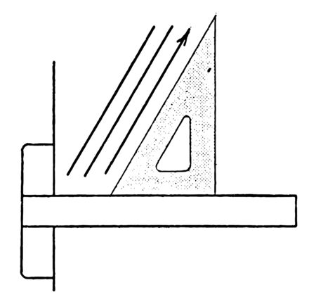 Triangle Set Up for 60 Degrees or 30 degrees with the vertical, determine angle in the isosceles triangle, same length and each interior angle, vintage line drawing or engraving illustration.