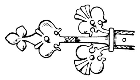 Gothic Hinge comes from a door, solid brass, mounting hardware, vintage line drawing or engraving illustration.