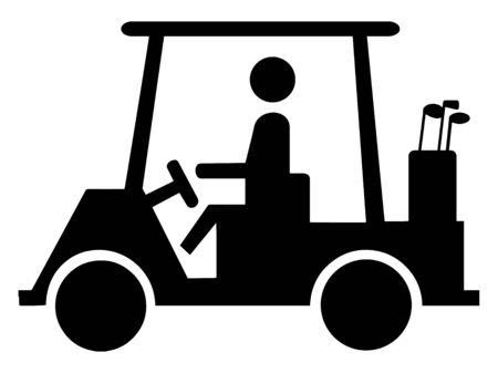 Questo segnale stradale e stradale figurato indica che l'attraversamento del carrello da golf è consentito nelle vicinanze, disegno di linee vintage o illustrazione di incisione