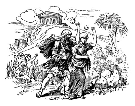 In this image is Deucalion and his wife Pyrrha, are of the race of in Prometheus, vintage line drawing or engraving illustration.