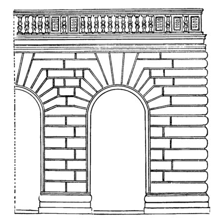 Rustication  was first treated systematically,  the architects of the Renaissance, especially in Florence, vintage line drawing or engraving illustration.