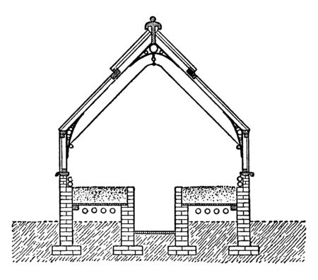 This illustration represents Forcing House which is most convenient to grow them in properly constructed forcing houses, vintage line drawing or engraving illustration.