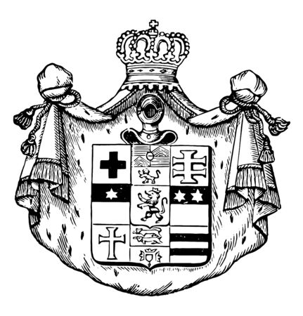 The Great Seal of Germany is a postal service of Princes of Thurn and Taxis, vintage line drawing or engraving illustration.