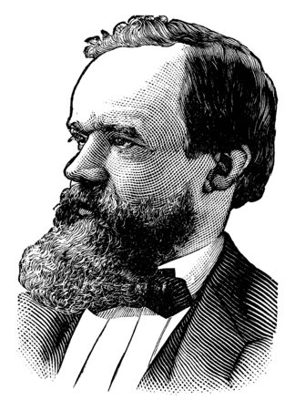 Robert Bonner, he was a reporter, famous for working on the courant, republican, mirror, and merchant's ledger, vintage line drawing or engraving illustration