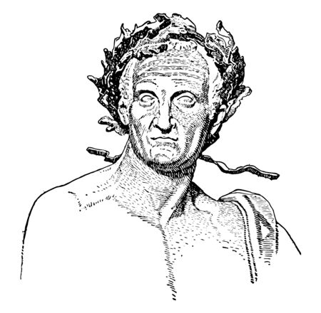 Nerva, 30 AD-98 AD, he was Roman emperor from 96 to 98, vintage line drawing or engraving illustration Çizim