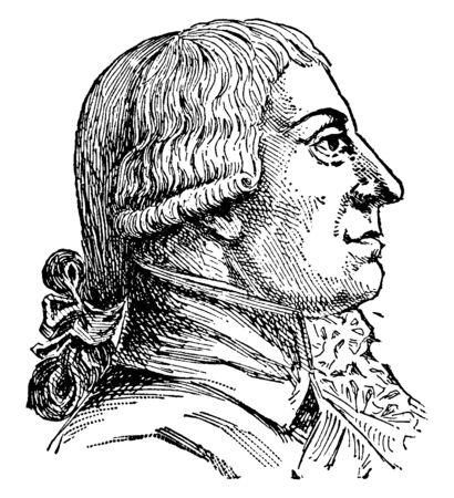 Gottfried A. Burger, 1747-1794, he was a famous German poet, vintage line drawing or engraving illustration Ilustração