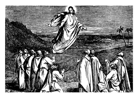 A view of ascent of Jesus into heaven, vintage line drawing or engraving illustration. 일러스트