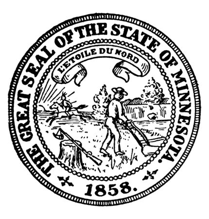 The Great seal of state of Minnesota, this circle shape seal has an American riding horse with spear, farmer plowing, sunrays, with motto 'L'etoile du nord' in the middle, vintage line drawing or engraving illustration